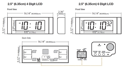 "2.5"" (6.35cm) 4 and 6 Digit 2.5"" (6.35cm) 4 and 6 Digit Digital Display LCD Clocks Specifications"