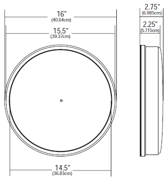 "16"" (40.64cm) Standard Clock Specifications"