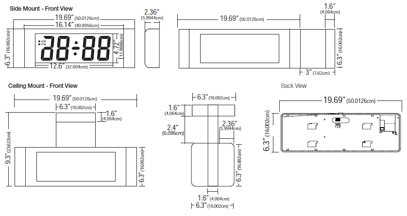 "4"" (10.16cm) 4 Digit LED Display - Side Mount - Front View and Ceiling Mount - Front View and Back View"
